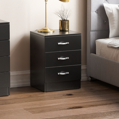 Riano 3 Drawer Bedside Chest, Black