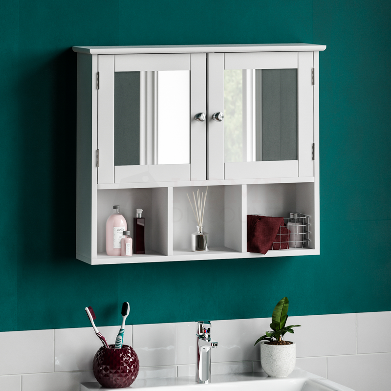 Priano 2 Door Mirrored Wall Cabinet With 3 Compartments, White