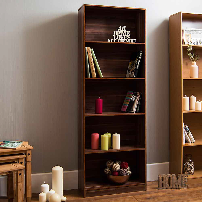 Cambridge 5 Tier Extra Large Bookcase, Walnut