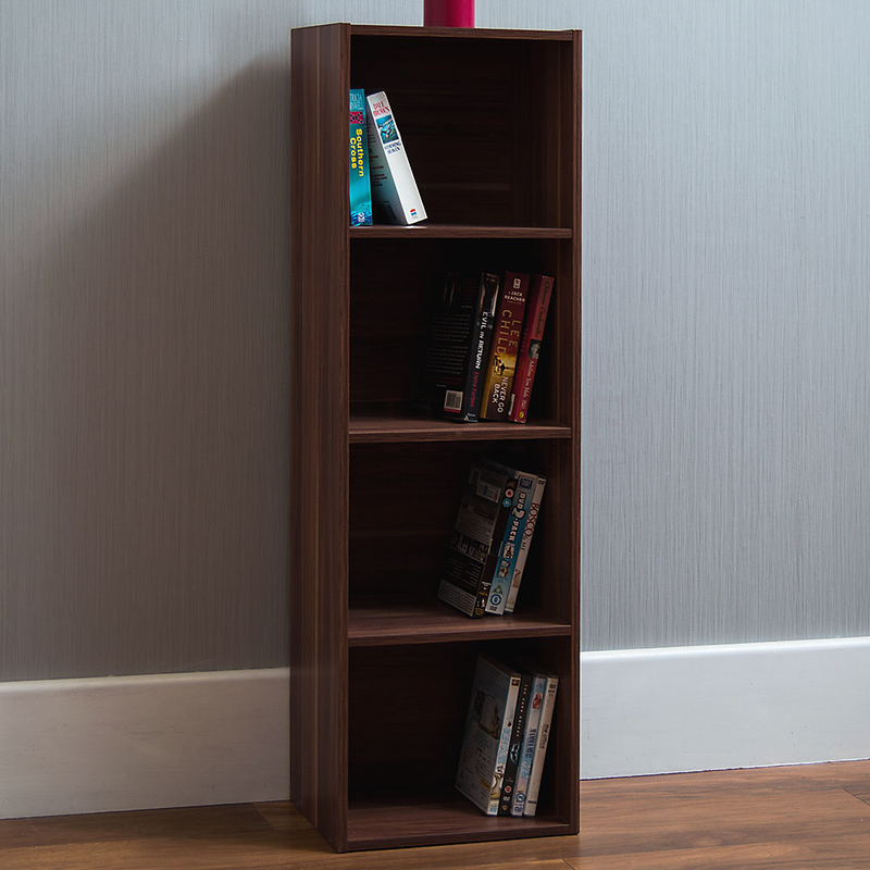 Oxford 4 Tier Cube Bookcase, Walnut