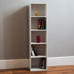 Oxford 5 Tier Cube Bookcase, White