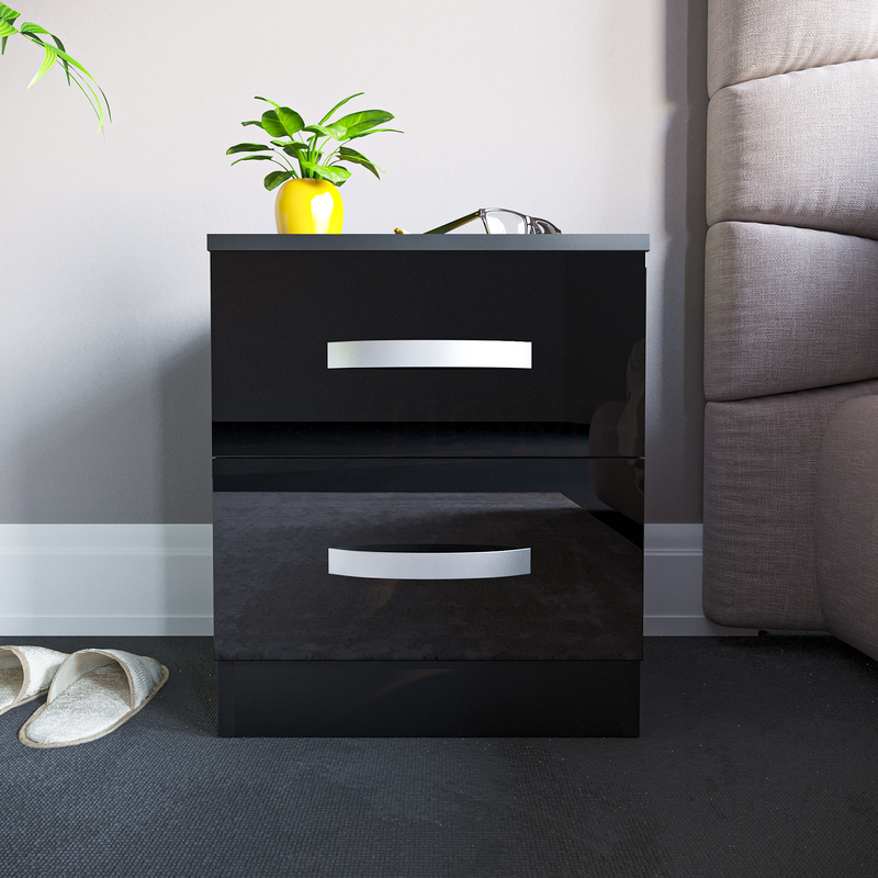 Hulio 2 Drawer Bedside Cabinet, Black
