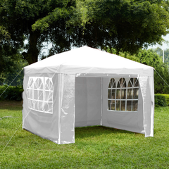 Gazebo With Sides 3x3m, White