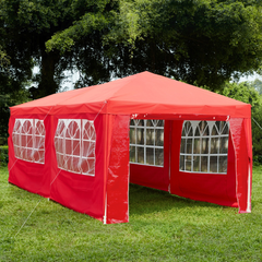 Gazebo With Sides 3x6m, Red