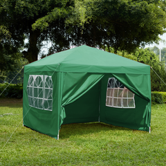 Pop Up Gazebo With Sides 3x3m, Green