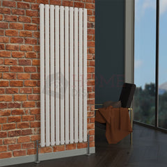 Milan Oval Single Vertical Radiator, 160 x 59, White