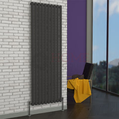 Milan Oval Single Vertical Radiator, 178 x 59, Grey