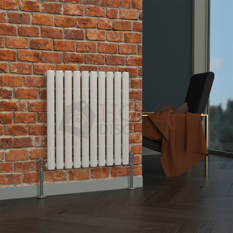 Milan Oval Single Horizontal Radiator, 63 x 59, White