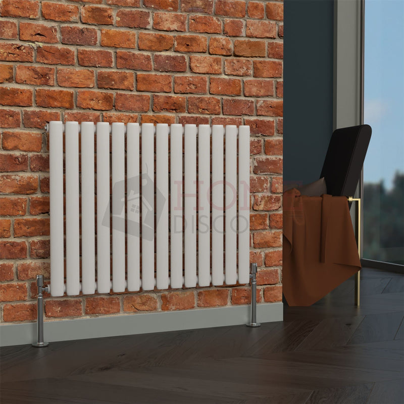 Milan Oval Single Horizontal Radiator, 63 x 82, White