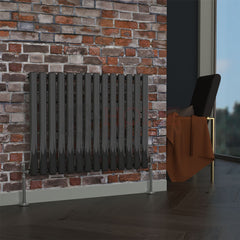 Milan Oval Single Horizontal Radiator, 63 x 82, Black