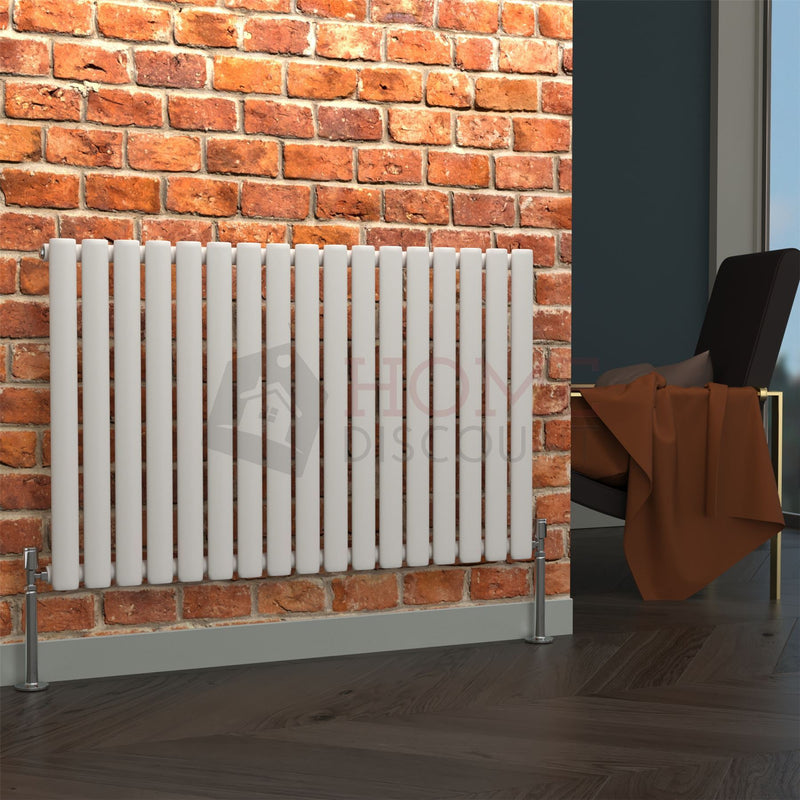 Milan Oval Single Horizontal Radiator, 63 x 100, White