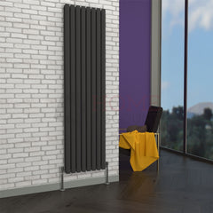 Milan Oval Double Vertical Radiator, 178 x 47, Grey