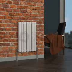 Milan Oval Double Horizontal Radiator, 63 x 41, White