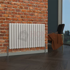 Milan Oval Double Horizontal Radiator, 63 x 100, White