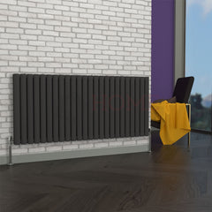 Milan Oval Double Horizontal Radiator, 63 x 141, Grey