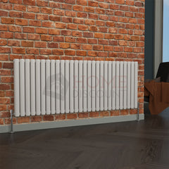 Milan Oval Double Horizontal Radiator, 63 x 165, White