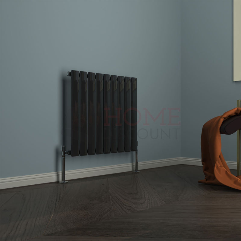 Modena Flat Single Horizontal Radiator, 60 x 61, Black