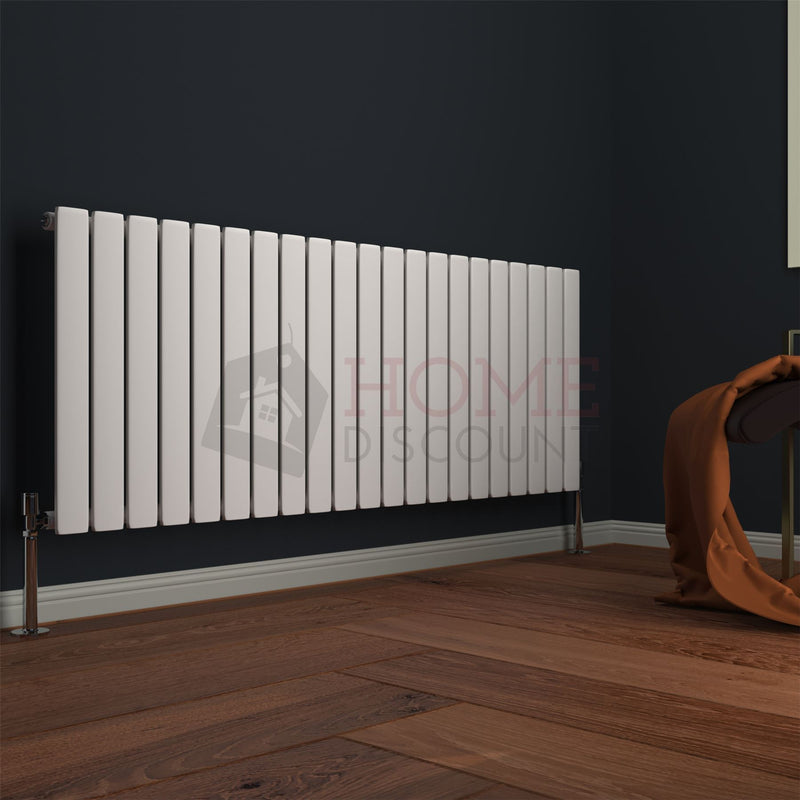 Modena Flat Single Horizontal Radiator, 60 x 142, White