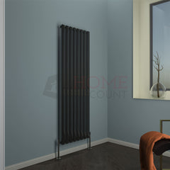 Modena Flat Single Vertical Radiator, 160 x 54, Black