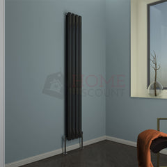 Modena Flat Double Vertical Radiator, 180 x 27, Black