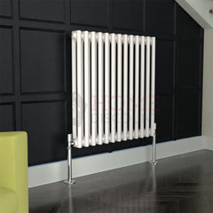 Verona Round 2 Column Traditional Radiator, 60 x 58, White