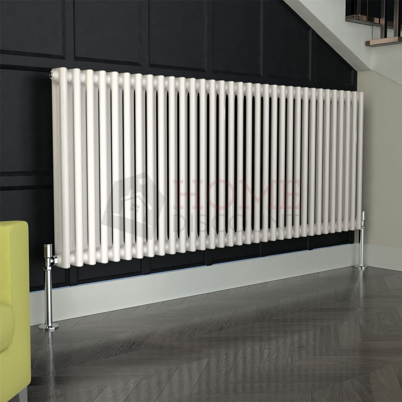 Verona Round 2 Column Traditional Radiator, 60 x 148, White