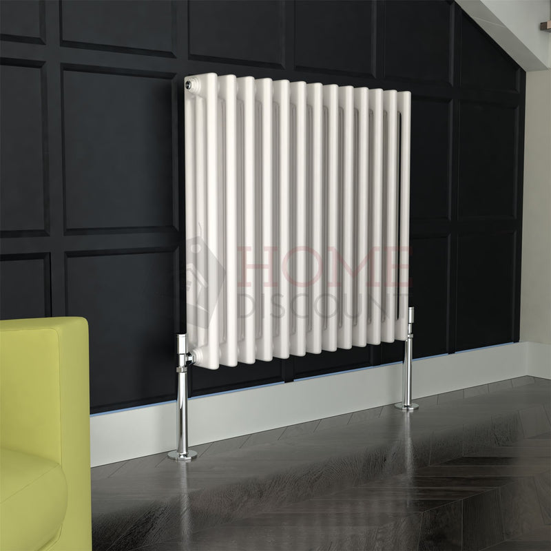 Verona Round 3 Column Traditional Radiator, 60 x 58, White