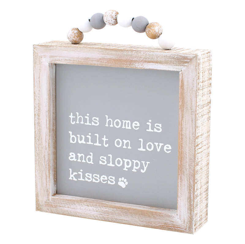 CA-3807 - Sloppy Kisses Framed Sign w/ Beads