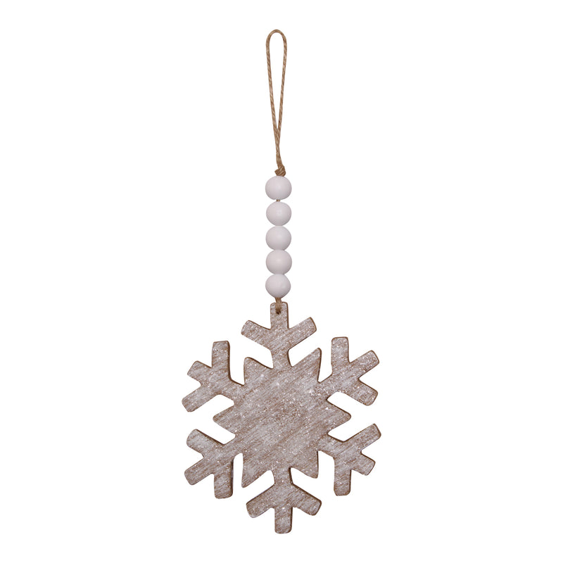 CA-4033 - Wood Snowflake Beaded Ornie
