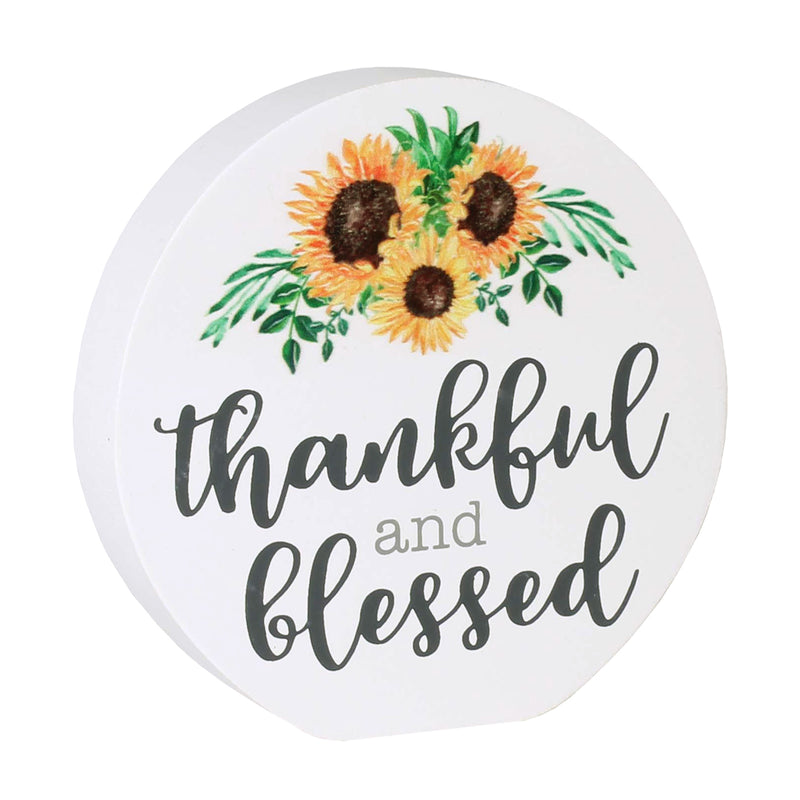 FR-9590 - Blessed Sunflower Round Block Sign