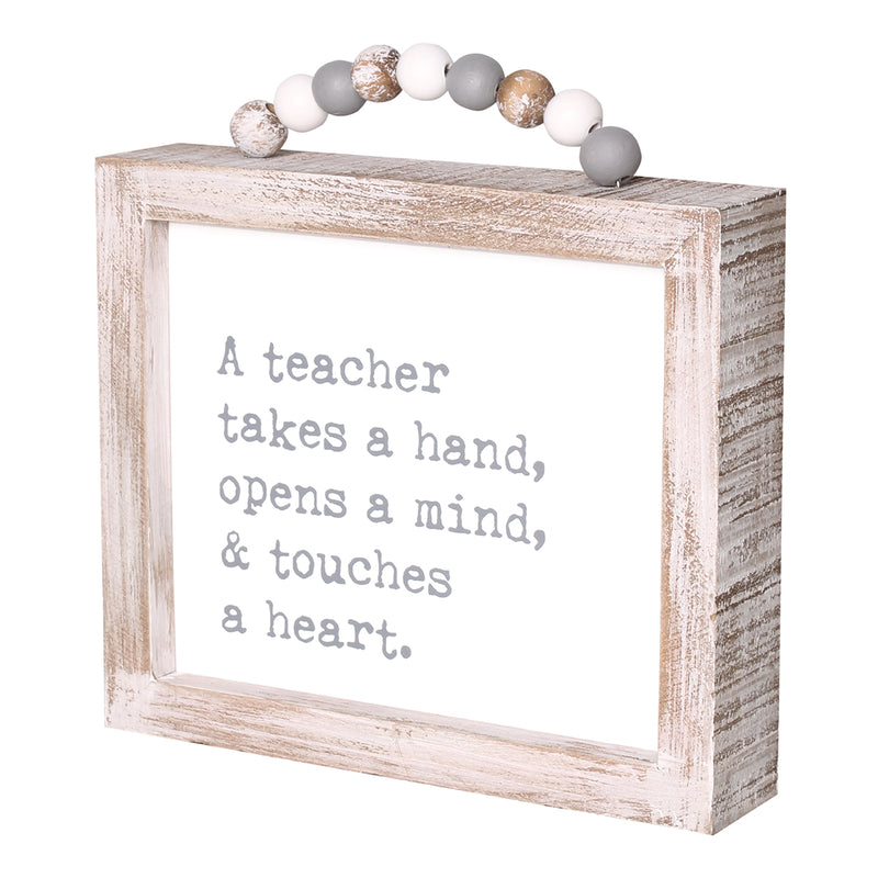 PS-7809 - Teacher Framed Sign w/ Beads
