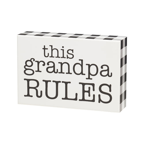 Grandpa Rules Box Sign