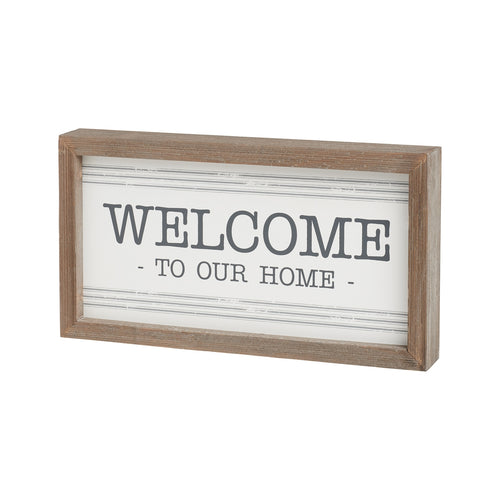 Welcome Striped Framed Sign