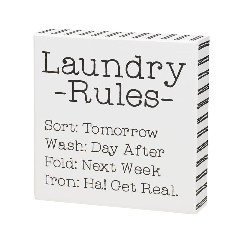 Laundry Rules Box Sign