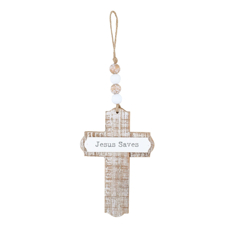 Jesus Saves 3D Cross w/ Beads