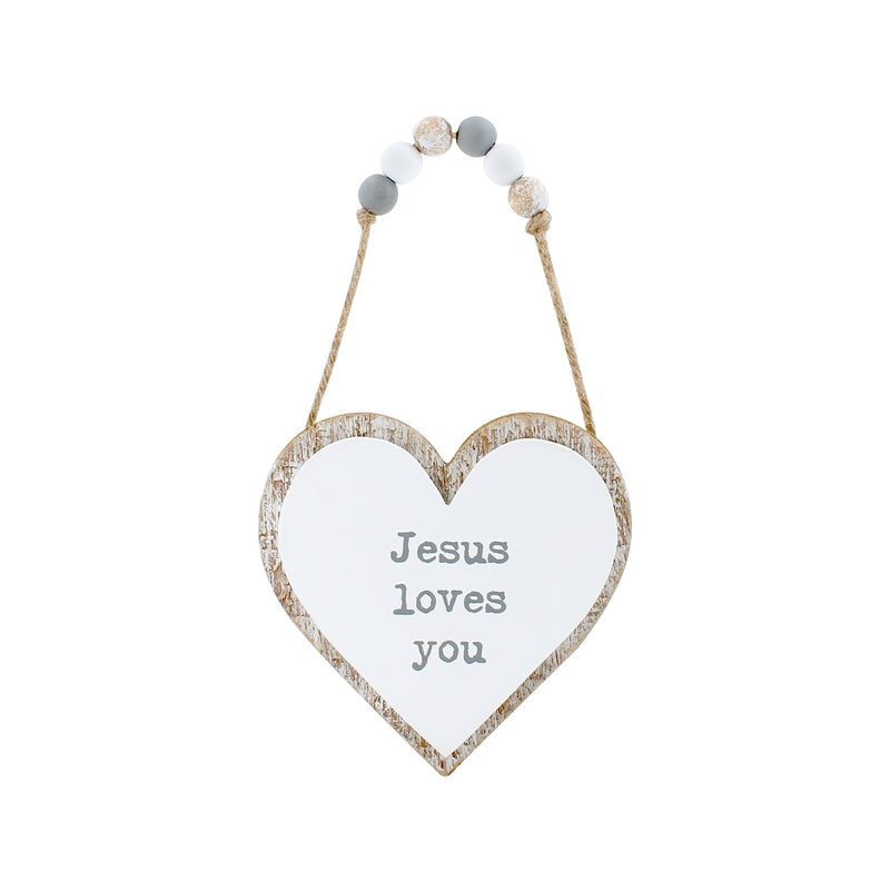 Jesus Loves 3D Heart w/ Beads