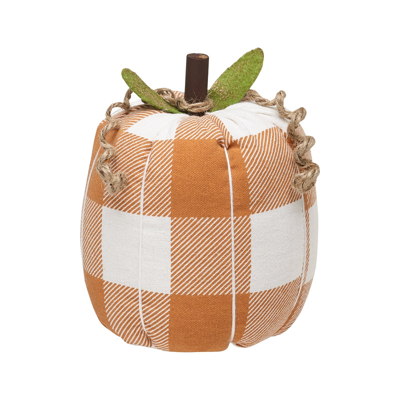 Lrg. Orange Check Fabric Pumpkin