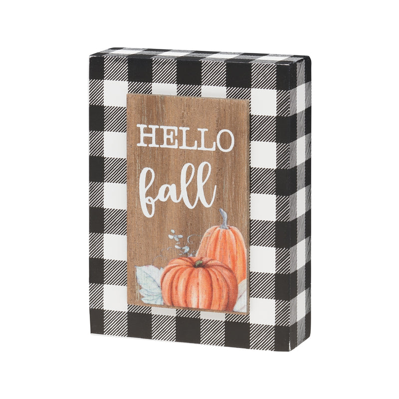 Hello Fall BW 3D Block Sign