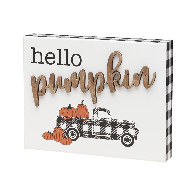 Pumpkin 3D BW Truck Box Sign