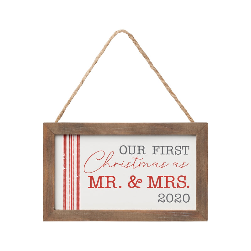 Mr Mrs 2020 Striped Framed Ornie