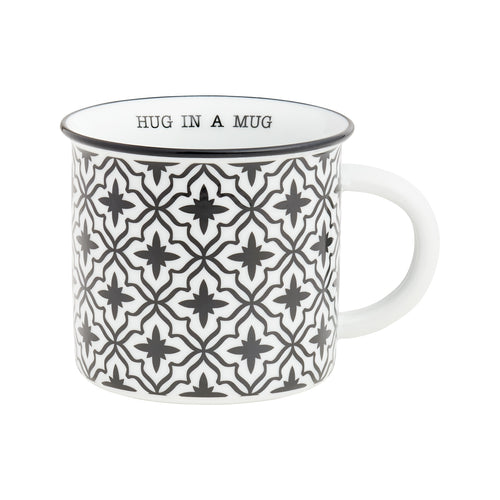 Hug Black Pattern Camp Mug