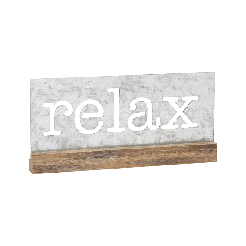 Relax Galvanized Tabletop Sign