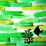 Angelfish on Green Background Painted Plastics Upcycle Hawaii Hand painted Fused Plastic Zipper Pouches Upcycled Repurposed Made in Hawaii
