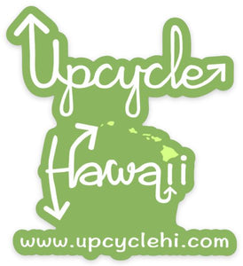 """Upcycle Hawaii"" Die-Cut 3"" Logo Square Sticker Green"