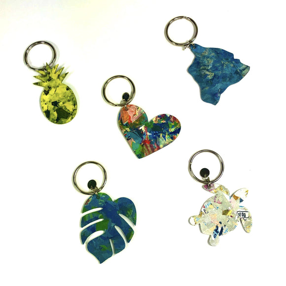 Group Photo Upcycle Hawaii Fused Plastic Keychain Upcycled Repurposed Keychains
