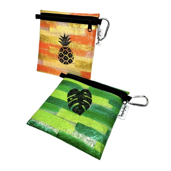 FPZPLS- Pineapple and Monstera Painted Plastics Upcycle Hawaii Hand painted Fused Plastic Zipper Pouches Upcycled reclaimed Made in Hawaii