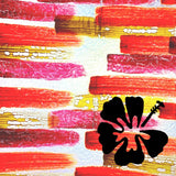 Hibiscus on Red Background Painted Plastics Upcycle Hawaii Hand painted Fused Plastic Zipper Pouches Upcycled reclaimed Made in Hawaii