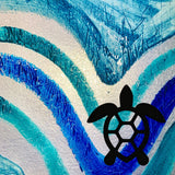 Honu Shell on Ocean Background Painted Plastics Upcycle Hawaii Hand painted Fused Plastic Zipper Pouches Upcycled Repurposed Made in Hawaii