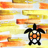 Honu Shell on Orange Background Painted Plastics Upcycle Hawaii Hand painted Fused Plastic Zipper Pouches Upcycled reclaimed Made in Hawaii