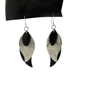Stacked Feathers Mixed Media Earrings